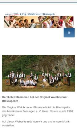 Vorschau der mobilen Webseite www.original-waldbrunner.de, Die Original Waldbrunner Blaskapelle