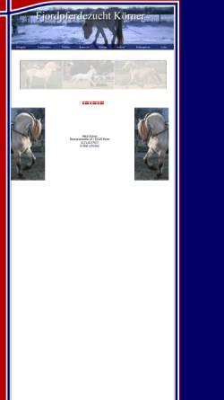 Vorschau der mobilen Webseite www.fjordpferdezucht-koerner.de, Fjordpferdezucht Sabine Körner