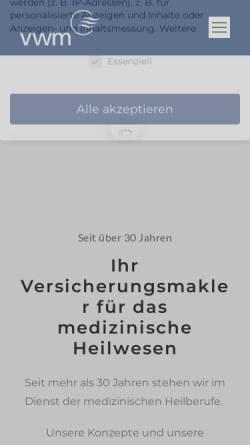 Vorschau der mobilen Webseite www.vwm-gmbh.de, VWM Versicherungs- und Wirtschaftsmakler GmbH