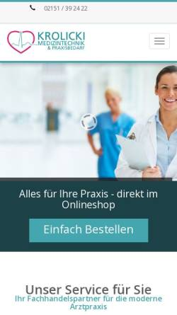 Vorschau der mobilen Webseite www.krolicki-med.de, Krolicki Medizintechnik Krefeld, Inh. Brigitte Krolicki