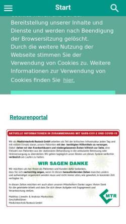 Vorschau der mobilen Webseite www.mtronline.de, Medizintechnik Rostock GmbH