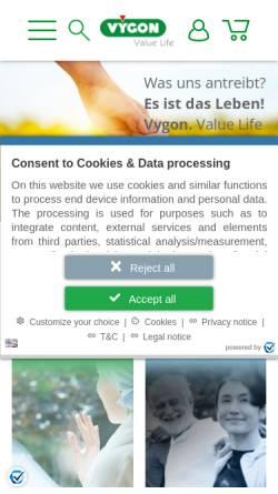 Vorschau der mobilen Webseite www.vygon.de, Vygon GmbH & Co. KG