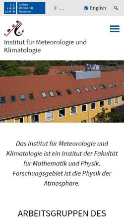 Vorschau der mobilen Webseite www.muk.uni-hannover.de, Institut für Meteorologie und Klimatologie an der Universität Hannover
