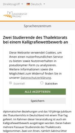 Vorschau der mobilen Webseite www.sprachz.uni-passau.de, Sprachenzentrum der Universität Passau