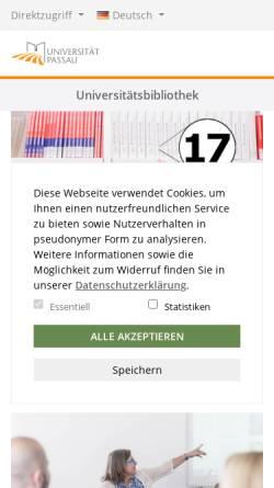 Vorschau der mobilen Webseite www.ub.uni-passau.de, Universitätsbibliothek Passau