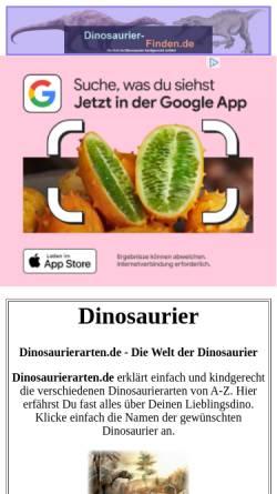 Vorschau der mobilen Webseite www.dinosaurierarten.de, ABC der Dinosaurier