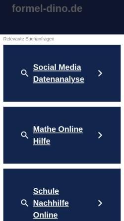 Vorschau der mobilen Webseite formel-dino.de, Formel Dino. Dinosaurier und die Welt zu ihrer Zeit