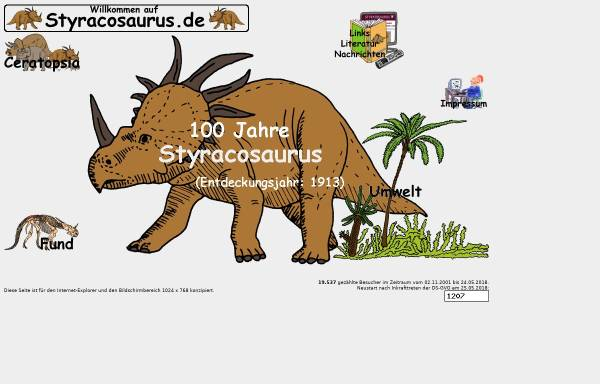 Vorschau von www.styracosaurus.de, Styracosaurus