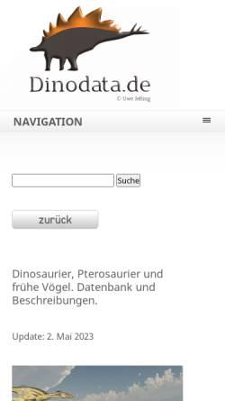 Vorschau der mobilen Webseite dinodata.de, Die Welt der Dinosaurier