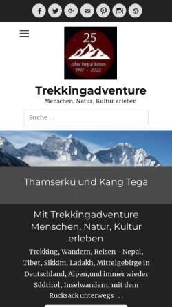 Vorschau der mobilen Webseite trekkingadventure.de, Der Weg ist das Ziel - Trekking in Nepal [Anne & Klaus Hessenauer]