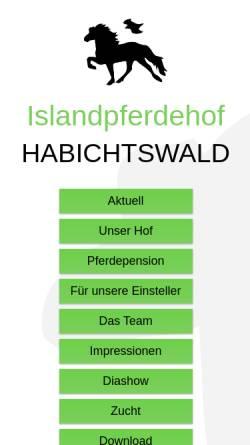Vorschau der mobilen Webseite www.islandpferdehof-habichtswald.de, Islandpferdehof Habichtswald