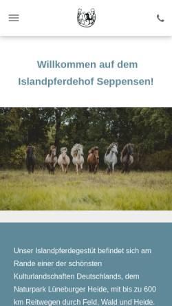 Vorschau der mobilen Webseite www.islandpferdehof.de, Islandpferdehof Seppensen