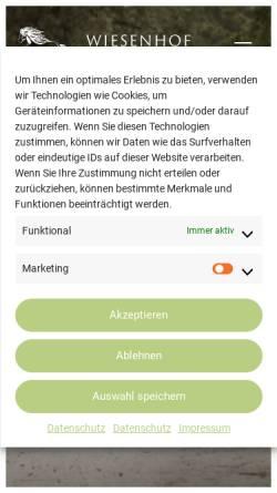 Vorschau der mobilen Webseite islandpferdezentrum-wiesenhof.de, Wiesenhof