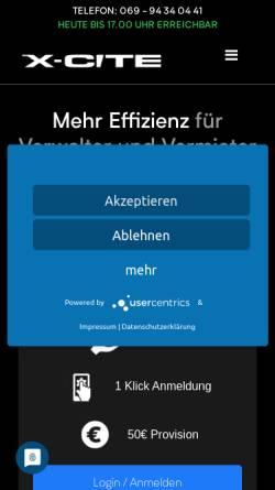 Vorschau der mobilen Webseite www.x-cite.de, Promotionagentur X-Cite GmbH