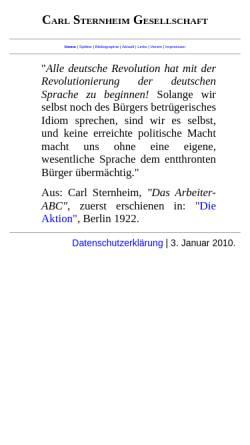 Vorschau der mobilen Webseite www.carl-sternheim-gesellschaft.de, Carl Sternheim Gesellschaft