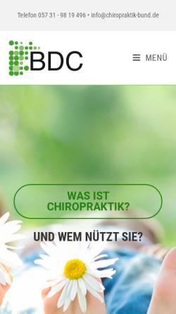 Vorschau der mobilen Webseite www.chiropraktik-bund.de, Bund deutscher Chiropraktiker e.V.