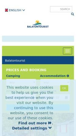 Vorschau der mobilen Webseite www.balatontourist.hu, SCD Balaton Holding AG