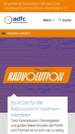 Vorschau der mobilen Webseite www.adfc-nrw.de, Allgemeiner Deutscher Fahrrad-Club (ADFC), Landesverband Nordrhein-Westfalen e.V.
