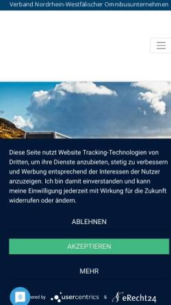 Vorschau der mobilen Webseite www.nwo-online.de, Verband Nordrhein-Westfälischer Omnibusunternehmen e.V. (NWO)