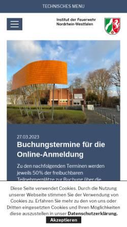 Vorschau der mobilen Webseite www.idf.nrw.de, Institut der Feuerwehr Nordrhein-Westfalen