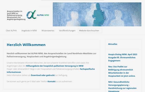 Vorschau von www.alpha-nrw.de, ALPHA - Hospizarbeit und Angehörigenbegleitung
