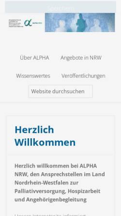 Vorschau der mobilen Webseite www.alpha-nrw.de, ALPHA - Hospizarbeit und Angehörigenbegleitung