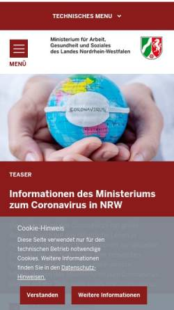 Vorschau der mobilen Webseite gesundheit.nrw.de, Gesundheit.nrw