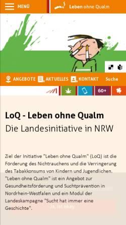 Vorschau der mobilen Webseite www.loq.de, Leben ohne Qualm (LoQ)