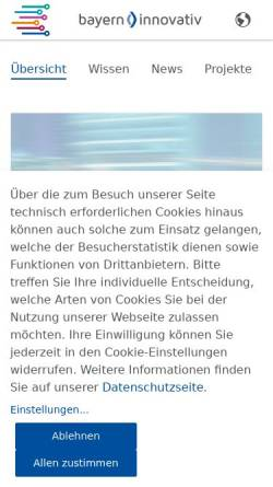 Vorschau der mobilen Webseite www.bayern-innovativ.de, Bayern Innovativ - Gesellschaft für Innovation und Wissenstransfer mbH