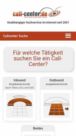 Vorschau der mobilen Webseite www.call-center.de, Call Center Börse GmbH