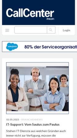 Vorschau der mobilen Webseite www.callcenterprofi.de, Callcenter-Profi - Business-Guide
