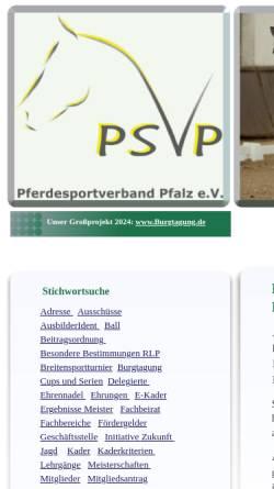 Vorschau der mobilen Webseite www.pferdesportverband-pfalz.de, Pferdesportverband Pfalz e.V.