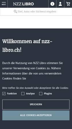 Vorschau der mobilen Webseite www.nzz-libro.ch, NZZ Libro - Buchverlag Neue Zürcher Zeitung