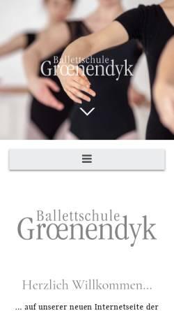 Vorschau der mobilen Webseite www.ballettschule-groenendyk.de, Ballettschule Groenendyk