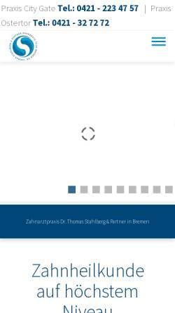 Vorschau der mobilen Webseite www.stahlberg-partner.de, Zahnarztpraxis Dr. med. dent. Thomas Stahlberg