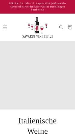 Vorschau der mobilen Webseite www.savardivini.ch, Savardi Vini Tipici GmbH