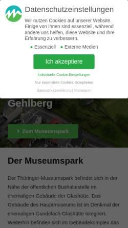 Vorschau der mobilen Webseite thueringer-museumspark.de, Museum der Gehlberger Glastradition