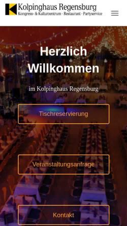 Vorschau der mobilen Webseite www.kolpinghaus-regensburg.de, Kolpinghaus