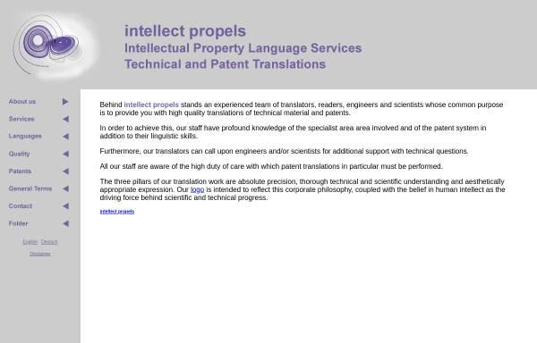 Vorschau von www.intellect-propels.com, Intellectual Property Language Services, Inh. Gudrun Kopp