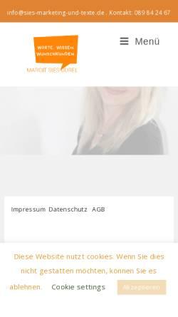 Vorschau der mobilen Webseite www.sies-marketing-und-texte.de, Sies-Gurel, Margit