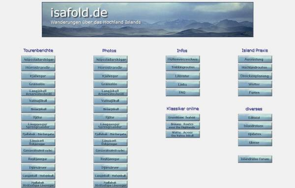 Vorschau von www.isafold.de, Wanderungen über das Hochland Islands [Dieter Graser]