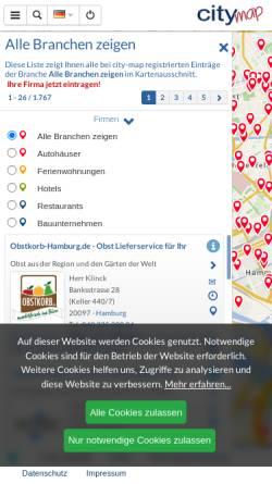 Vorschau der mobilen Webseite hamburg.city-map.de, City-map Hamburg