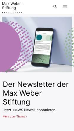 Vorschau der mobilen Webseite www.stiftung-dgia.de, Stiftung Deutsche Geisteswissenschaftliche Institute im Ausland (DGIA)