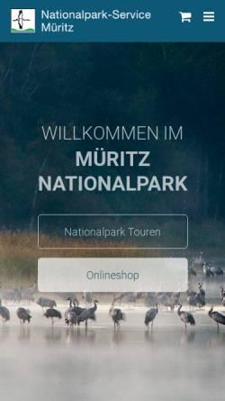 Vorschau der mobilen Webseite www.nationalpark-service.de, Nationalpark-Service Müritz Axel Schultz