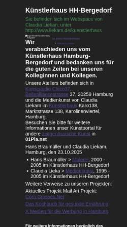 Vorschau der mobilen Webseite www.liekam.de, Künstlerhaus Hamburg-Bergedorf