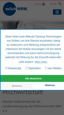 Vorschau der mobilen Webseite milch-nrw.de, Landesvereinigung der Milchwirtschaft NRW e.V.