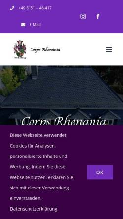 Vorschau der mobilen Webseite www.rhenania-darmstadt.de, Corps Rhenania zu Darmstadt