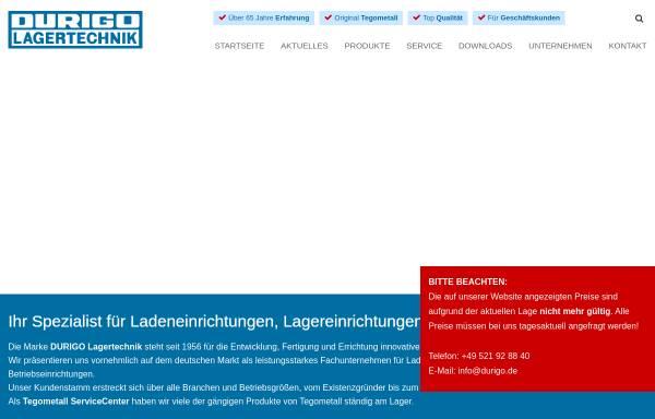 Vorschau von www.durigo.de, Durigo Lagertechnik Vertriebs GmbH & Co. KG