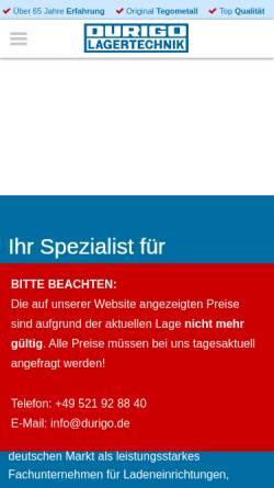 Vorschau der mobilen Webseite www.durigo.de, Durigo Lagertechnik Vertriebs GmbH & Co. KG
