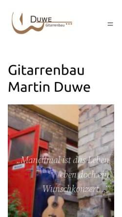 Vorschau der mobilen Webseite www.duwe-gitarrenbau.de, Duwe-Gitarrenbau